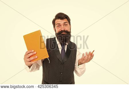 Doubting Hipster Teacher Hold Writing Pen And School Book, Education In Library
