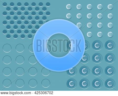 Blue Background With Transparent Round Panel And Volumetric Details