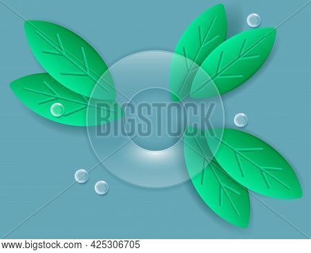 3d Green Leaves Composition. Voluminous Green Leaves Background