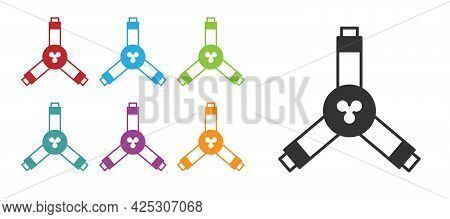 Black Skateboard Y-tool Icon Isolated On White Background. Set Icons Colorful. Vector