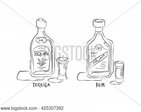 Tequila And Rum. Bottle And Glass In Hand Drawn Style. Restaurant Illustration For Celebration Desig