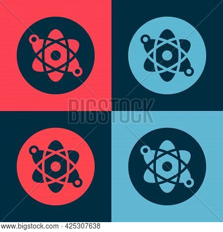 Pop Art Atom Icon Isolated On Color Background. Symbol Of Science, Education, Nuclear Physics, Scien