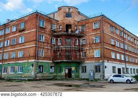 Non-ordinary Old Building, Living Monument To Architecture Of Early Soviet Communism. Remains Of Red