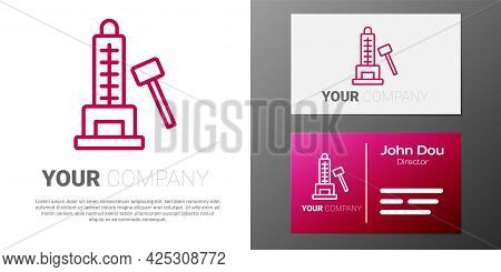 Logotype Line High Striker Attraction With Big Hammer Icon Isolated On White Background. Attraction