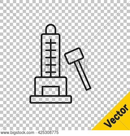 Black Line High Striker Attraction With Big Hammer Icon Isolated On Transparent Background. Attracti