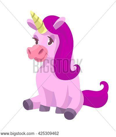 Sitting Cute Unicorn. Fairytale Character In Cartoon Style.