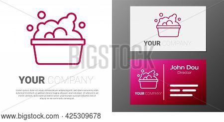 Logotype Line Plastic Basin With Soap Suds Icon Isolated On White Background. Bowl With Water. Washi