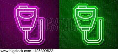 Glowing Neon Line Walkie Talkie Icon Isolated On Purple And Green Background. Portable Radio Transmi