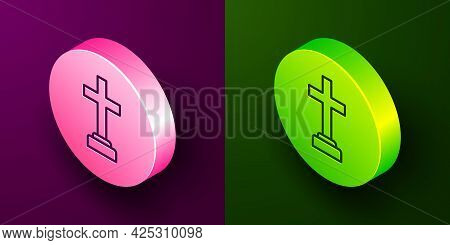 Isometric Line Man Graves Funeral Sorrow Icon Isolated On Purple And Green Background. The Emotion O