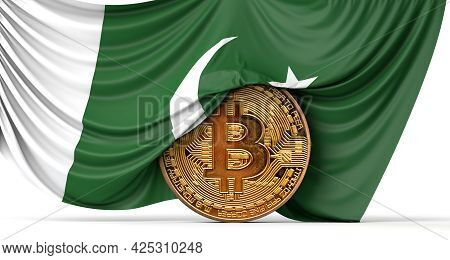 Pakistan Flag Draped Over A Bitcoin Cryptocurrency Coin. 3d Rendering