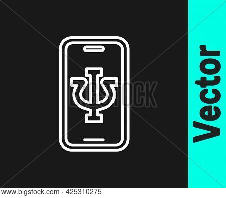 White Line Online Psychological Counseling Distance Icon Isolated On Black Background. Psychotherapy