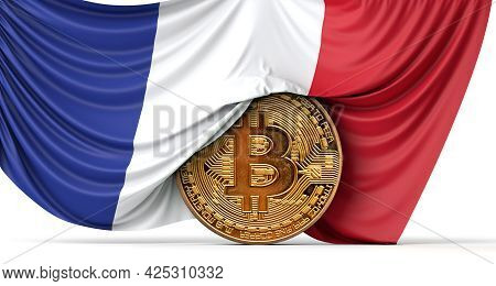 France Flag Draped Over A Bitcoin Cryptocurrency Coin. 3d Rendering