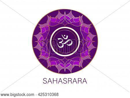 Seventh Chakra Sahasrara Logo Template.  Circle Crown Chakra Symbol, Purple Sacral Sign Meditation,