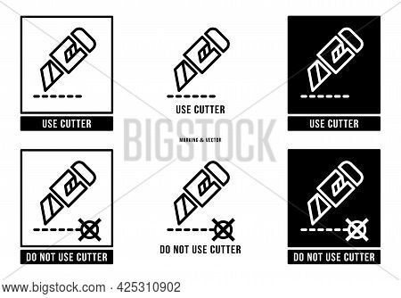 A Set Of Manipulation Symbols For Packaging Cargo Products And Goods. Marking - Do Not Use Cutter. M
