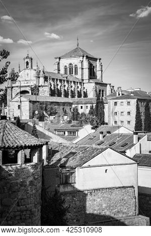 View of Salamanca with convent of St. Stephen, Spain. Black and white photography, cityscape