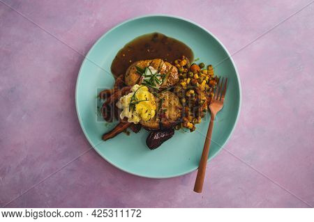 Vegan Roast With Mixed Vegetable And Plant-based Meatloaf, Healthy Plant-based Food