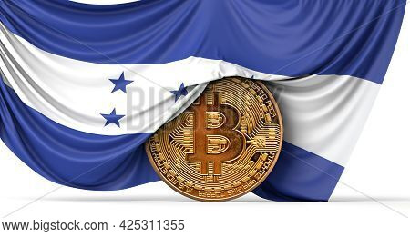 Honduras Flag Draped Over A Bitcoin Cryptocurrency Coin. 3d Rendering