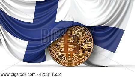 Finland Flag Draped Over A Bitcoin Cryptocurrency Coin. 3d Rendering
