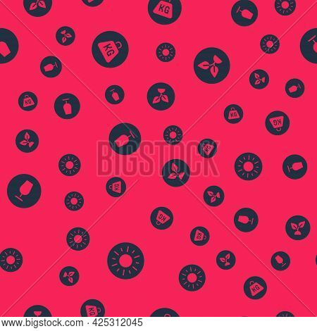 Set Sun, Weight, Fragile Broken Glass And Plant Based On Seamless Pattern. Vector
