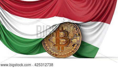 Hungary Flag Draped Over A Bitcoin Cryptocurrency Coin. 3d Rendering