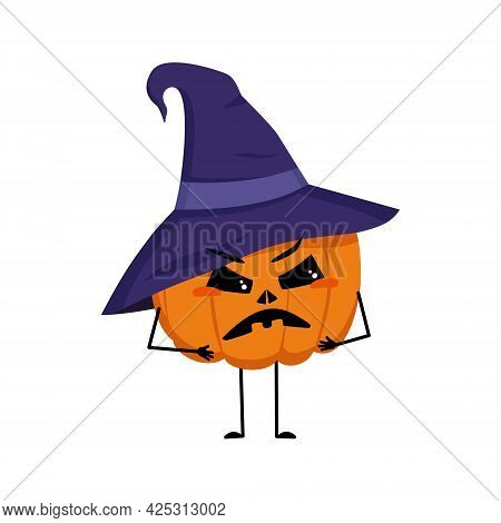 Cute Pumpkin Character In Pointed Hat With Angry Emotions, Face, Arms And Legs. The Funny Or Grumpy