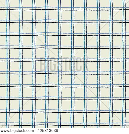 Seamless Pattern With Double Hand Drawn Grid On Light-colored Background