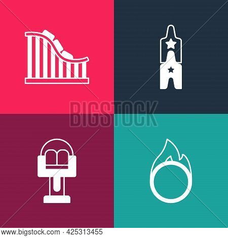 Set Pop Art Circus Fire Hoop, Attraction Carousel, Ticket And Roller Coaster Icon. Vector
