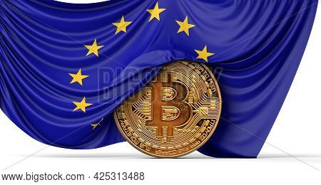 European Union Flag Draped Over A Bitcoin Cryptocurrency Coin. 3d Rendering