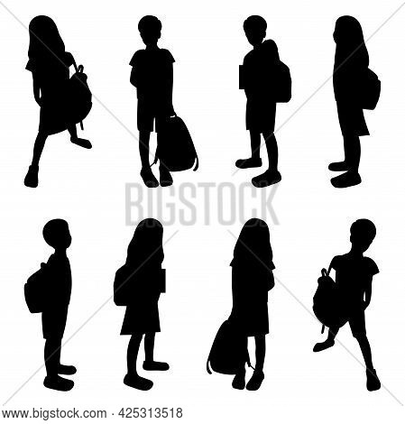 Children With Schoolbags Black Silhouettes Set, Schollboy Kids Isolated, Pupils Boys And Girs In Dif