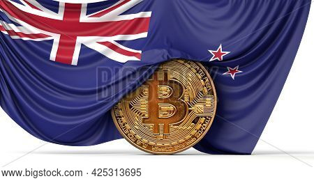 New Zealand Flag Draped Over A Bitcoin Cryptocurrency Coin. 3d Rendering