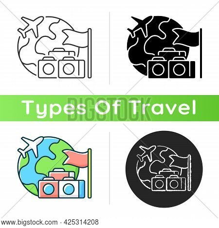 Group Tour Icon. Collective Planning For Journey Abroad. Trip Together To Abroad Country. Tourism In