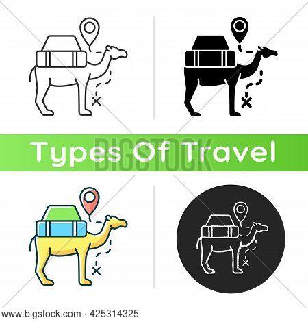 Camel Caravan Icon. Travel In Egypt. Mammal For Safari Transportation. Explore Desert And Dune On Dr