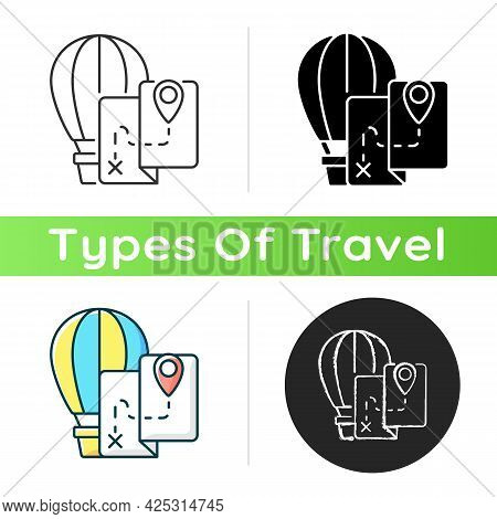 Hot Air Balloon Tourism Icon. Flight Journey. Fly High In Basket. Tour Plan For Entertainment. Trave