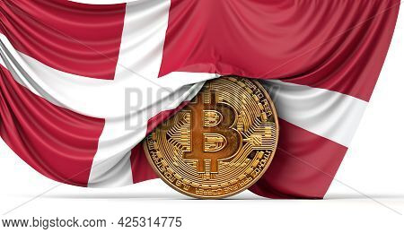 Denmark Flag Draped Over A Bitcoin Cryptocurrency Coin. 3d Rendering