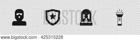 Set Thief Mask, Police Badge, Flasher Siren And Flashlight Icon. Vector