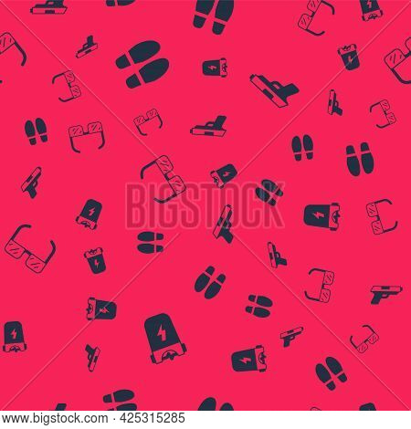 Set Police Electric Shocker, Footsteps, Safety Goggle Glasses And Pistol Or Gun On Seamless Pattern.