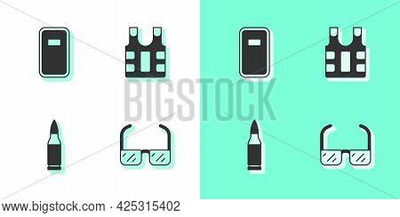 Set Safety Goggle Glasses, Police Assault Shield, Bullet And Bulletproof Vest Icon. Vector