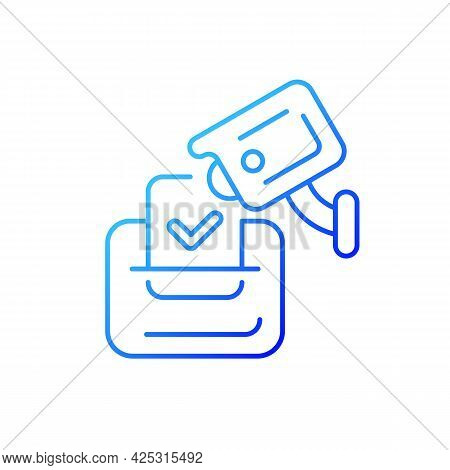 Video Election Observation Gradient Linear Vector Icon. Monitoring Polling Stations. Electoral Fraud