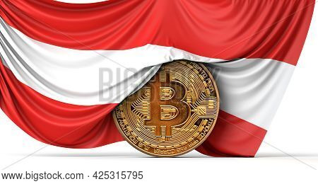 Austria Flag Draped Over A Bitcoin Cryptocurrency Coin. 3d Rendering