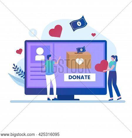 Online Donate Illustration Design Concept