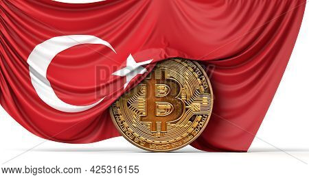 Turkey Flag Draped Over A Bitcoin Cryptocurrency Coin. 3d Rendering