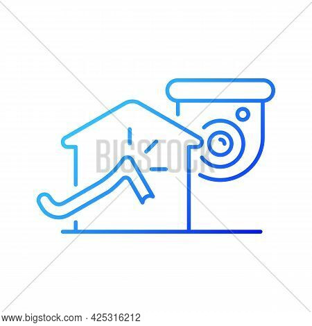 Avoiding House Intrusion With Cctv System Gradient Linear Vector Icon. Burglaries Prevention. House