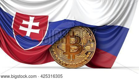 Slovakia Flag Draped Over A Bitcoin Cryptocurrency Coin. 3d Rendering