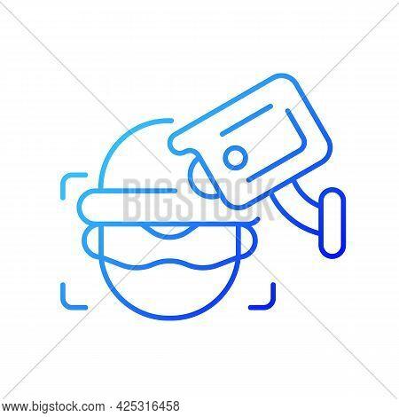 Criminal Detection With Surveillance Camera Gradient Linear Vector Icon. Facial Recognition. Crime P