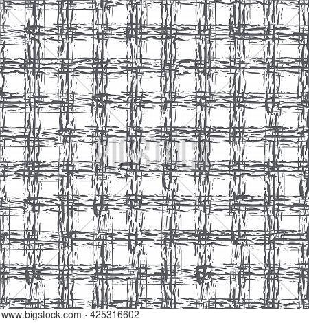 Abstract Vector Basket Weave Modern Seamless Pattern Background. Monchrome Black White Burlap Grid B