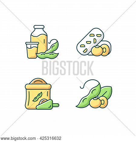 Soy Meals Rgb Color Icons Set. Isolated Vector Illustrations. Organic Soybean Based Flour. Healthy P