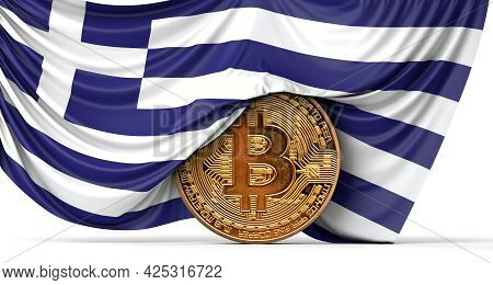 Greece Flag Draped Over A Bitcoin Cryptocurrency Coin. 3d Rendering