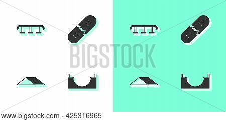 Set Skate Park, Skateboard Stairs With Rail, And Broken Skateboard Deck Icon. Vector