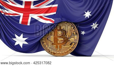 Australia Flag Draped Over A Bitcoin Cryptocurrency Coin. 3d Rendering