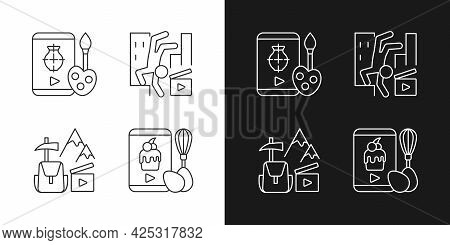Internet Video Linear Icons Set For Dark And Light Mode. Drawing Tutorial. Parkour Footage. Travel V
